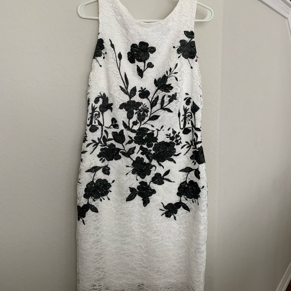 Dkny Dresses & Skirts - White dress with black and white lace detail.